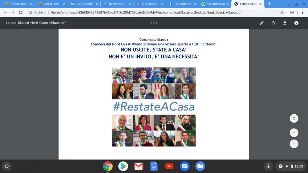 I Sindaci del Nord Ovest Milano scrivono una lettera aperta a tutti i cittadini
